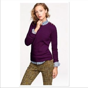 J. CREW Wool Cashmere Button Shoulders Sweater
